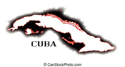 Cuba - Outline blank map of the South American country of...