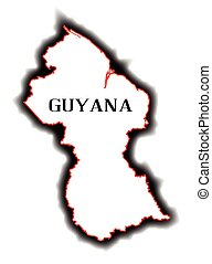 Guyana - Outline blank map of the South American country of...