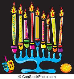 Happy Chanukah Menorah - Menorah surrounded by fun and...