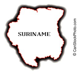 Suriname - Outline bland map of the South American country...