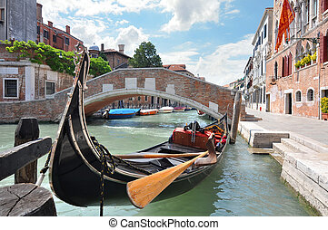 Gondola on a canal in Venice - Gondola on a beautiful canal...