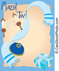 Mazol Tov - Bar or Bat Mitzvah Invitation with room for your...