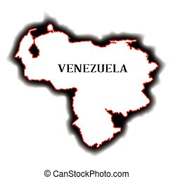 Venezuela - Outline blank map of the South American country...