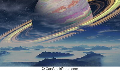 Gas giant surrounded by rings on a - Huge colorful gas giant...