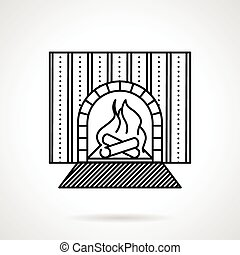 Fireplace black line vector icon - Flat black line vector...