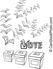 vote or voting - hand drawn, vector, sketch, illustration of...