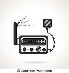 Radio transceiver black vector icon - Flat black vector icon...