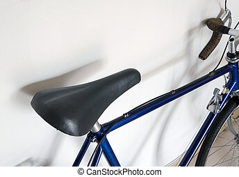 Leather saddle of touring bicycle