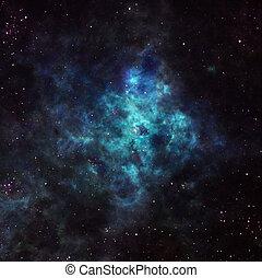 nebulosa, en, exterior, espacio,