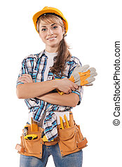 beautiful female construction worker on photo with agitation...