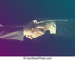 Handshake Handshaking on light and dark - Handshake...