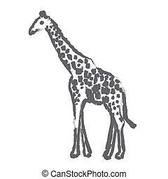 giraffe - brush strokes outline