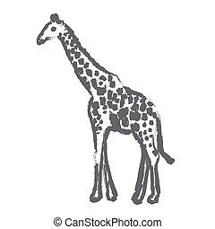 giraffe - brush strokes outline