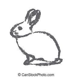 rabbit - brush strokes outline