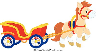 Pony with a cart - Little funny horse pulling a small cart