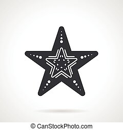 Black vector icon for starfish - Black vector icon for sea...