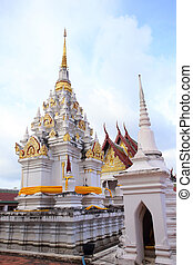 A white pagoda at chaiya temple , Suratthani , Thailand