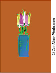 3d lily\'s on white in vase