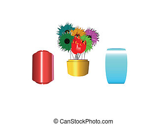 3d flowers in three different vases - floral bouquet in 3d...