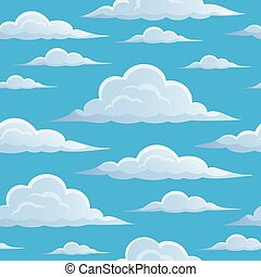 Clouds on blue sky seamless background 1