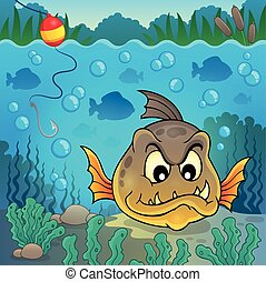 Piranha fish underwater theme 4 - eps10 vector illustration