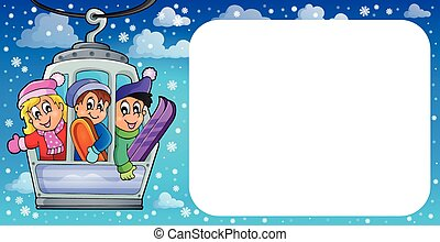 Small frame with cable car theme - eps10 vector...