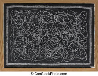 white chalk scribble on blackboard - child art - white chalk...