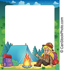 Summer frame with scout girl theme 1 - eps10 vector...
