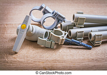 Water Valve Polypropylene Fixators And Pipe With Clips On...