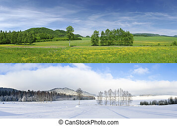 Winter and summer - Comparison of 2 seasons - winter and...