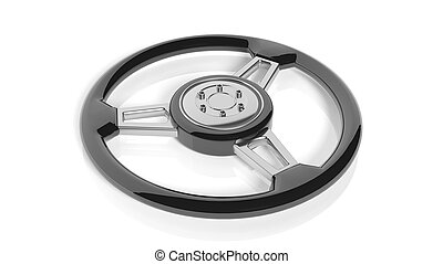 Car steering wheel, isolated on white background