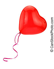 Red heart balloon isolated on white background