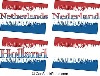 abstract flag of Netherlands, four versions - vector...