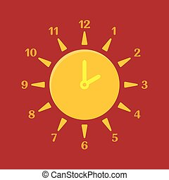 Combined clock and sun. Summer time concept.