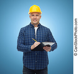 smiling male builder in helmet with clipboard - repair,...