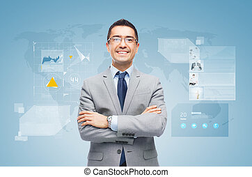happy businessman with virtual screens - business, people,...