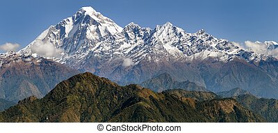 panoramatic view from Jaljala pass of Dhaulagiri and...