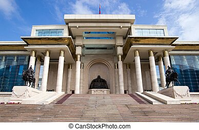 Palace of Mongolian Government in Ulaanbaatar - ULAANBAATAR,...