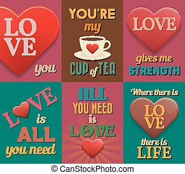 Unusual inspirational love posters Set 1 Vector illustration...