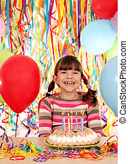 happy little girl with birthday cake party
