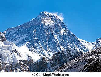 Top of Mount Everest from Gokyo valley - way to Everest base...