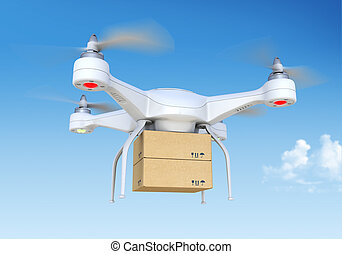 Quadrocopter drone delivering pack - This is 3D model was...