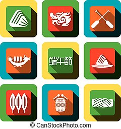 Dragon boat festival Icon design set, the center Chinese...