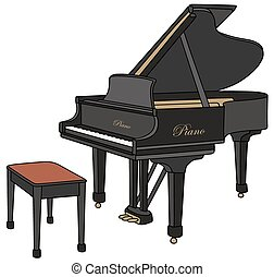 Black grand piano - Hand drawing of a black grand piano,...