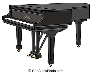 Grand piano - Hand drawing of a black grand piano, closed