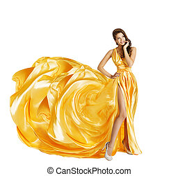 Woman in Yellow Art Silk Dress, Surprised Girl Looking...