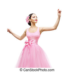 Woman Touching in Long Dress, Fashion Model in Pink Gown...