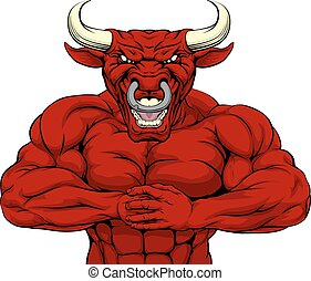 Strong Red Bull Mascot - Red bull mascot character or sports...
