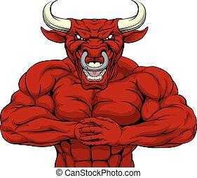 forte, vermelho, touro, mascote,