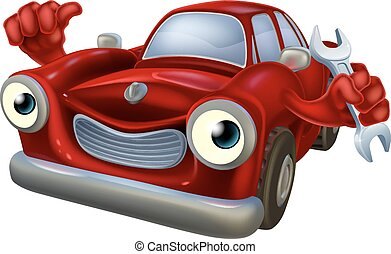 Car mechanic character - A happy red car mechanic character...